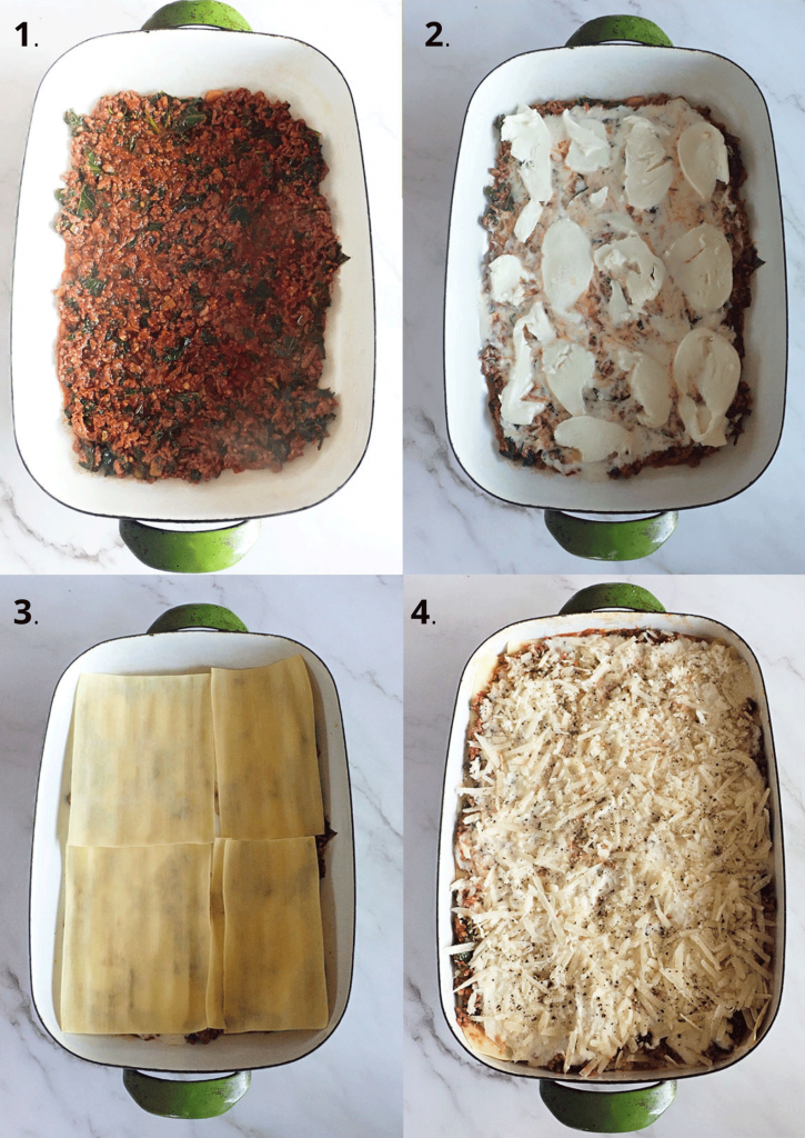 Nduja, 3 cheese and kale lasagne how to assemble