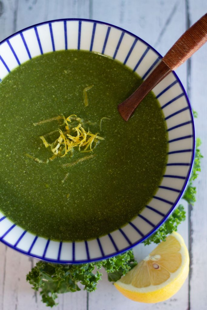 bowl of zesty green soup