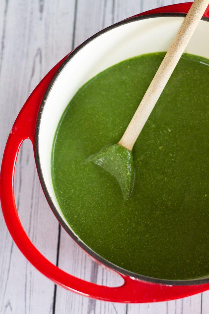 pan of zesty green soup ready to serve
