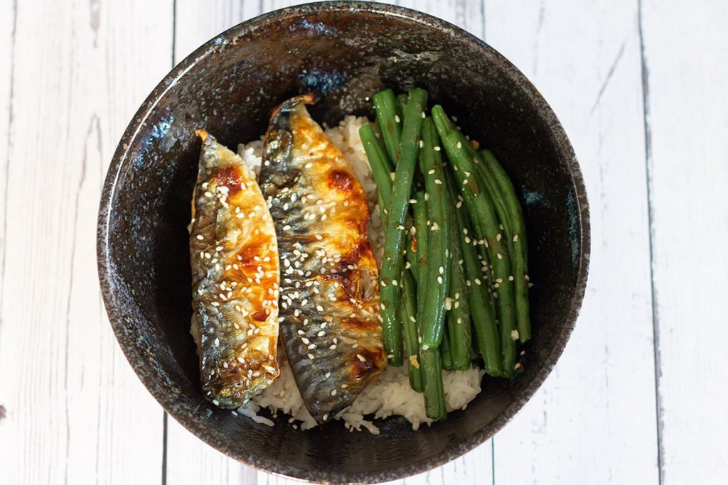 grilled mackerel plated up