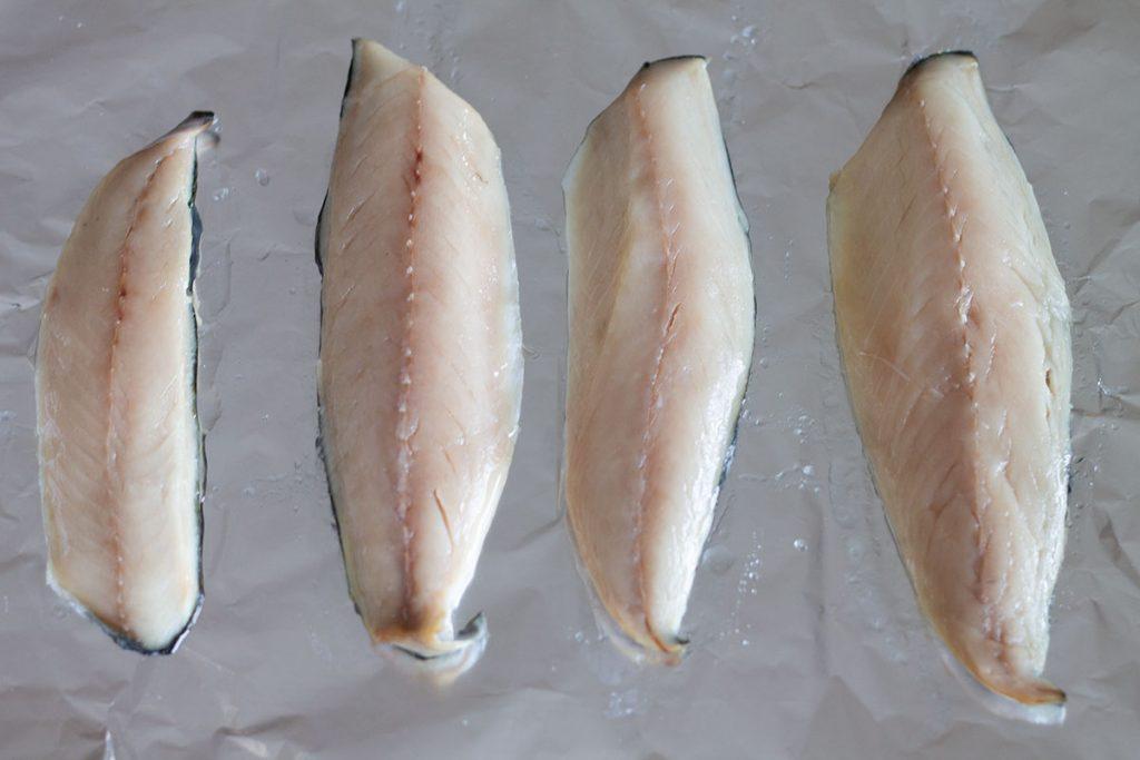 mackerel fillets on grill pan