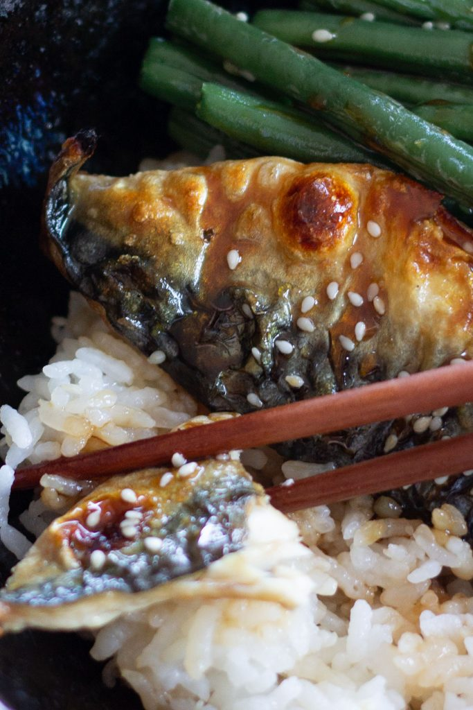 grilled mackerel close cup