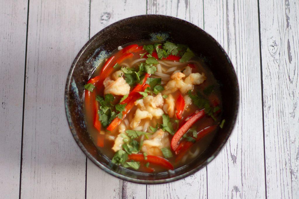 bowl of prawn pho ready to serve