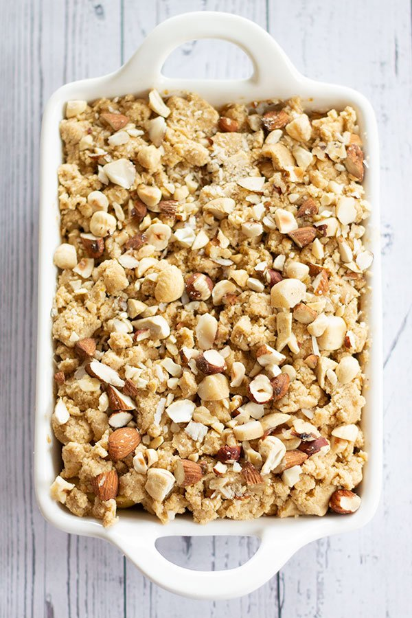 assembled crumble in a baking dish