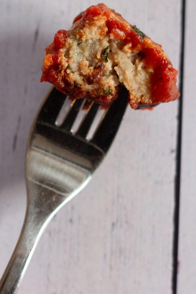 turkey meatball on a fork