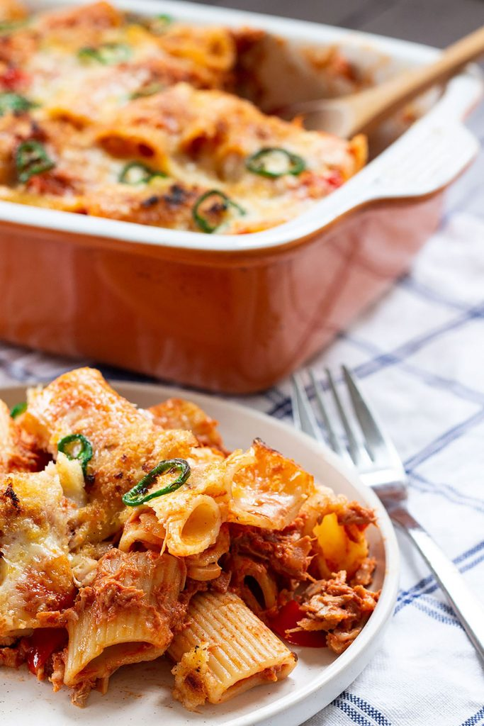 easy creamy tuna pasta bake on a plate