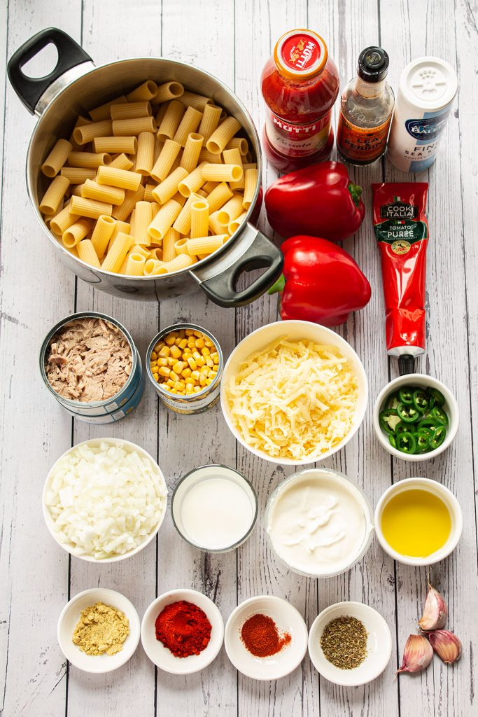 creamy tuna pasta bake ingredients