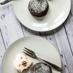 two chocolate fondant cakes with iceceam