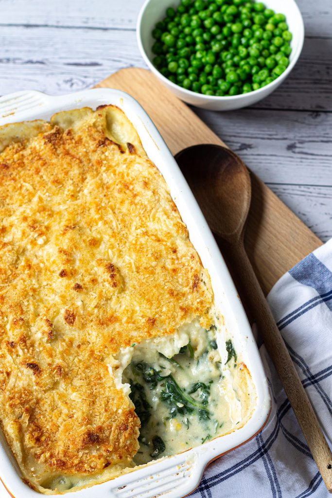 baked fish pie ready to serve