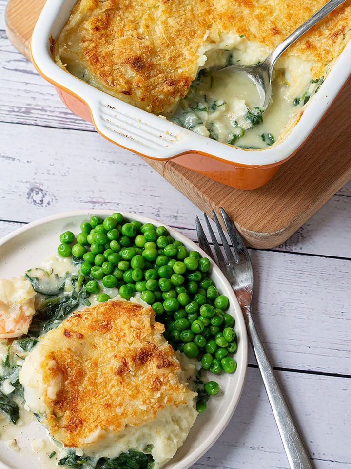 plated fish pie with spinach