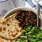 lamb mince flatbread in a bowl