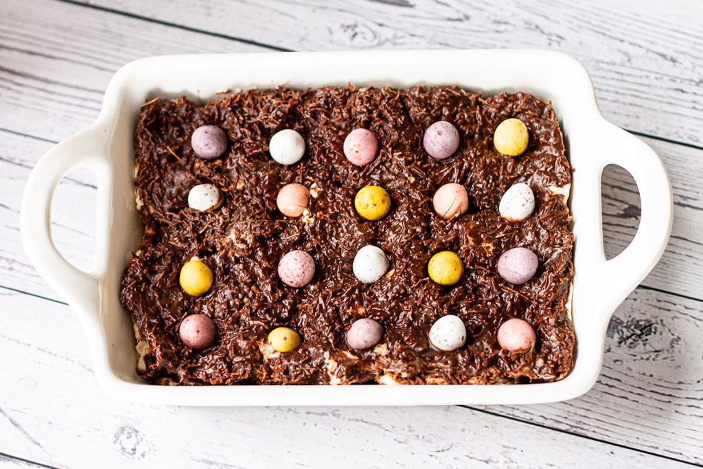 Baked Cadburys Cream and Mini Egg brownies