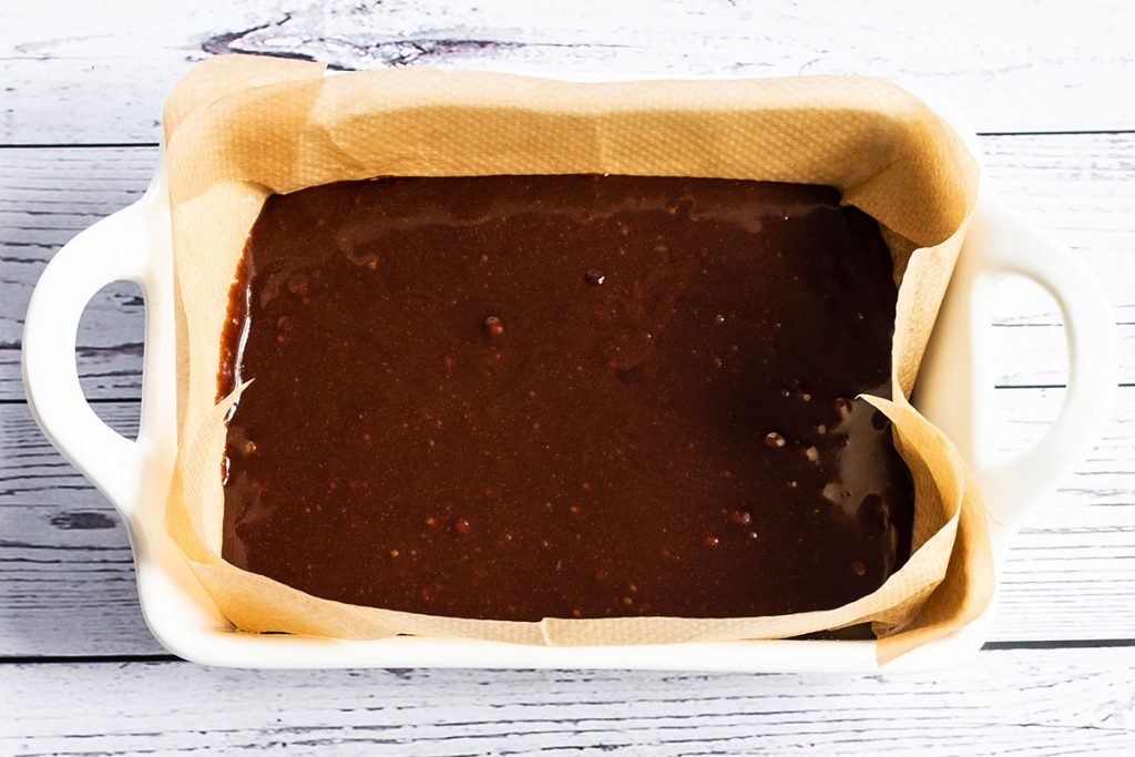 Brownie base in a baking dish
