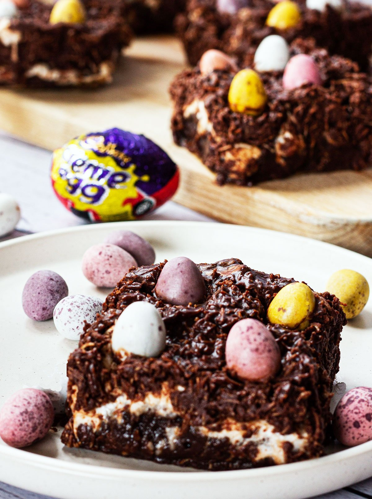 plated cream and mini egg brownie