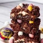 stack of Cream and Mini Egg brownies