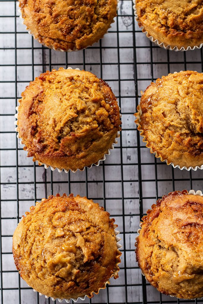 Easy Banana Caramel Muffins on wire rack