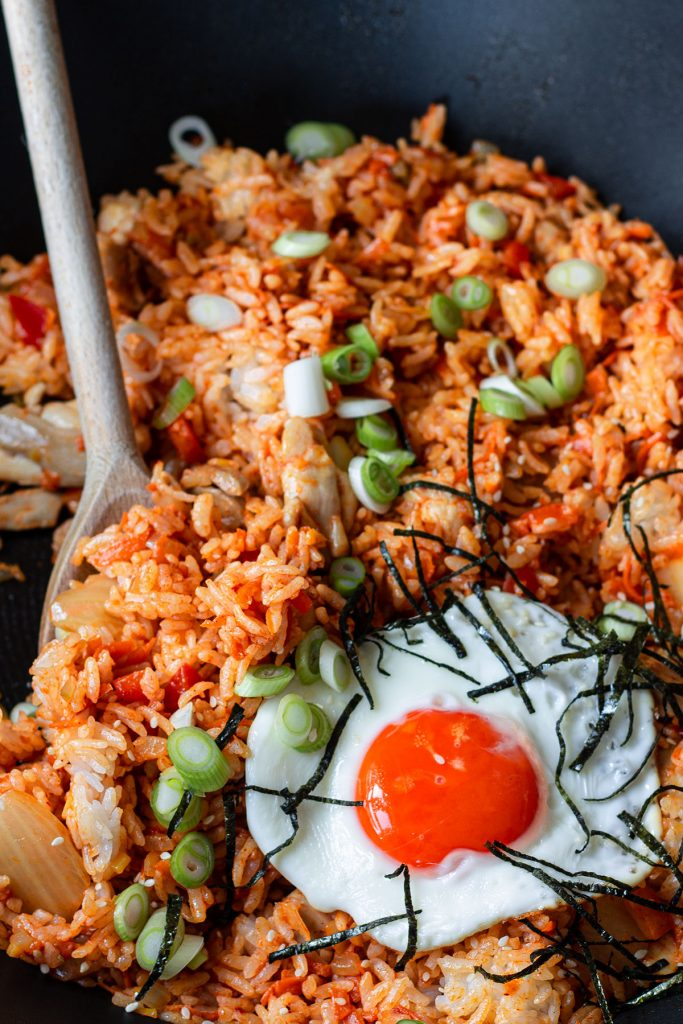 chicken kimchi fried rice in a pan