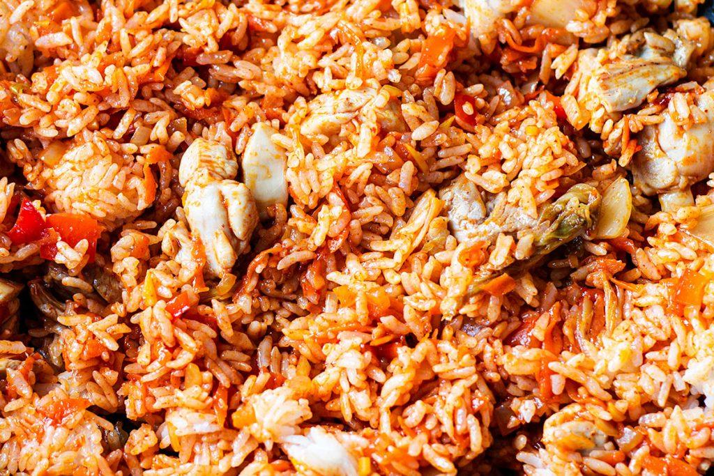 chicken kimchi fried rice in a wok