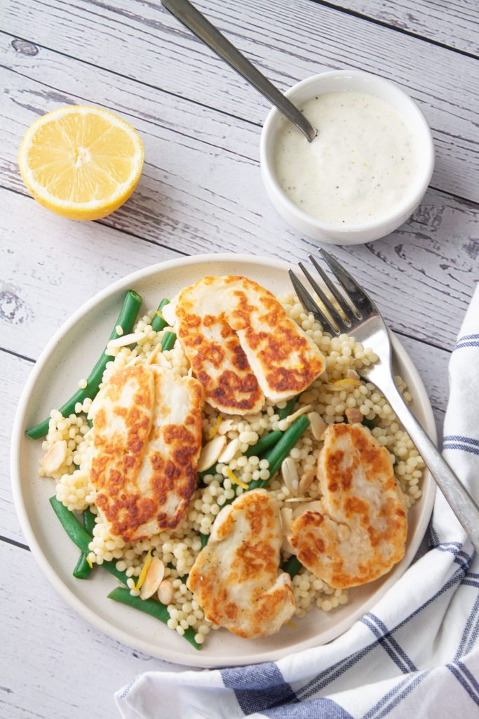A bowl of Giant Couscous and Halloumi Salad