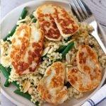 A bowl of Giant Couscous & Halloumi Salad