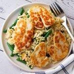 A serving of giant couscous & halloumi salad