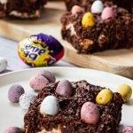 Cadbury Easter brownie on a plate