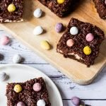 Cadbury Easter brownies on a board