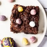 Cadbury Easter Brownies on a plate