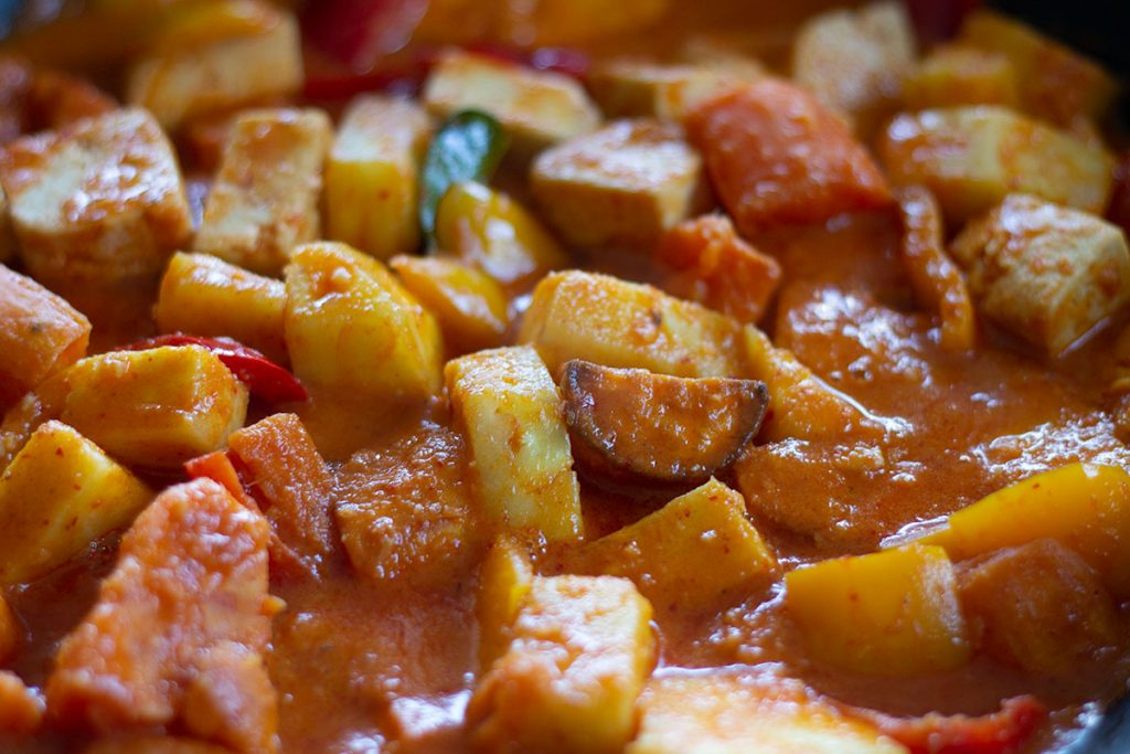 Sweet Potato and Tofu Thai Red Curry close up