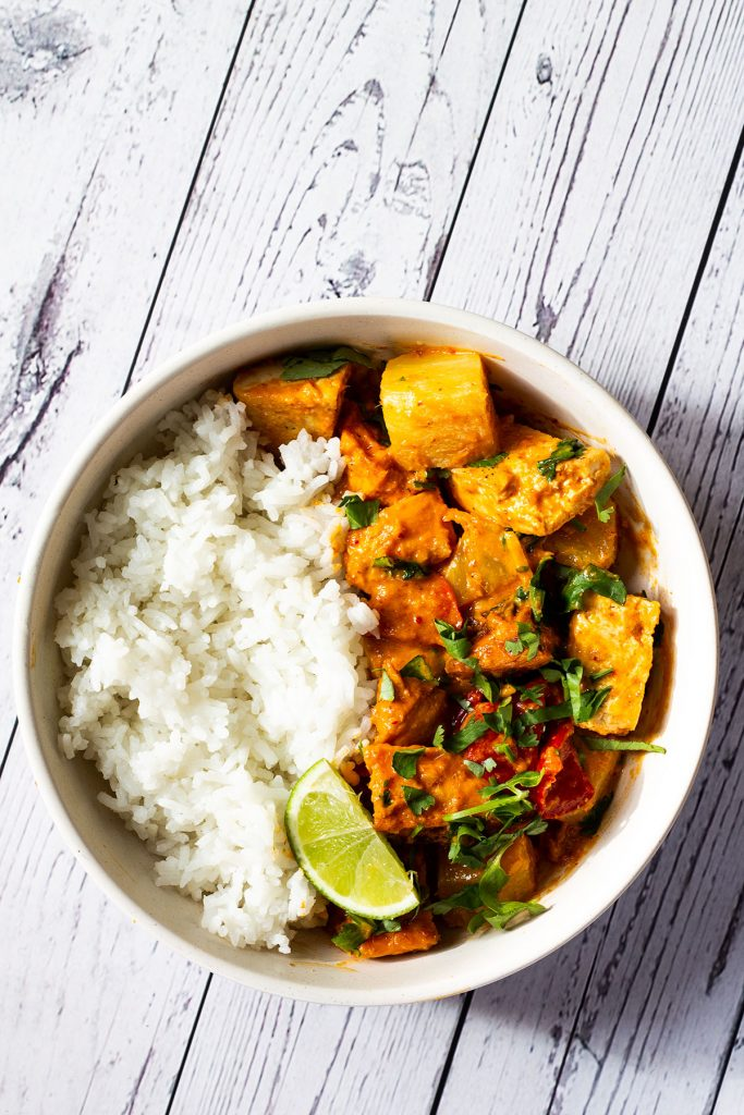 A bowl of Sweet Potato and Tofu Thai Red Curry