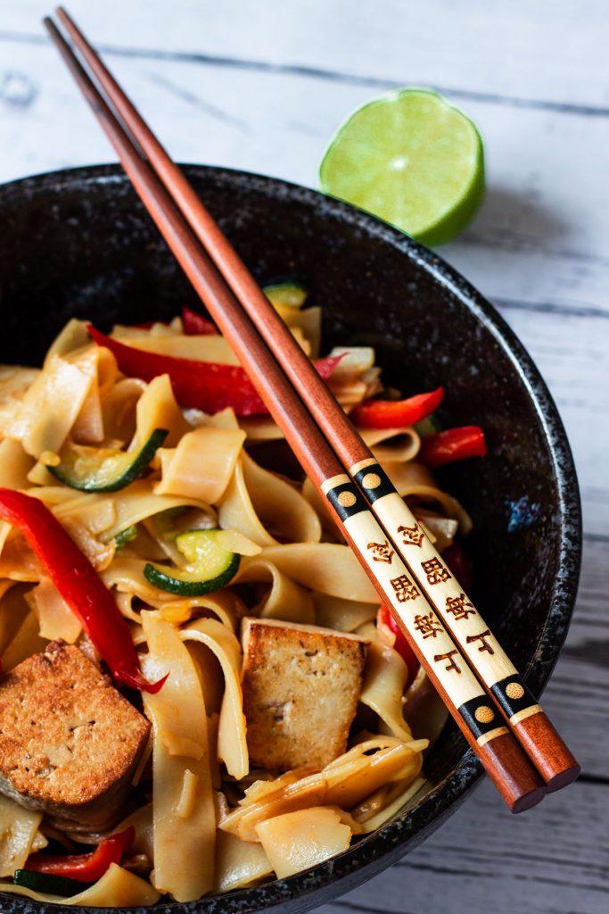 A bowl of Vegetarian Thai Drunken Noodles