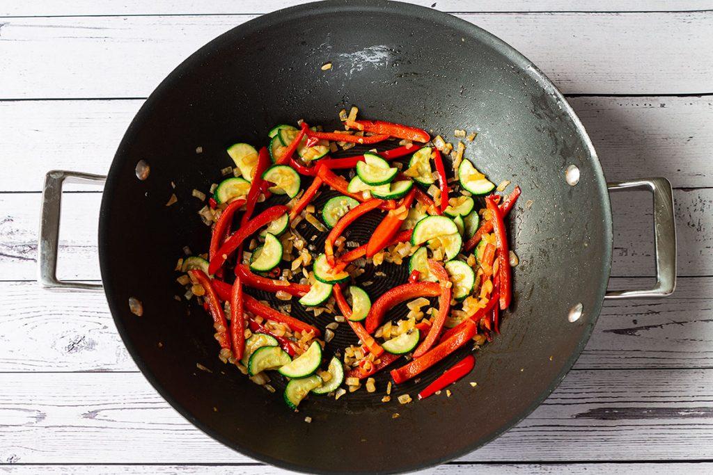 Ingredients in wok