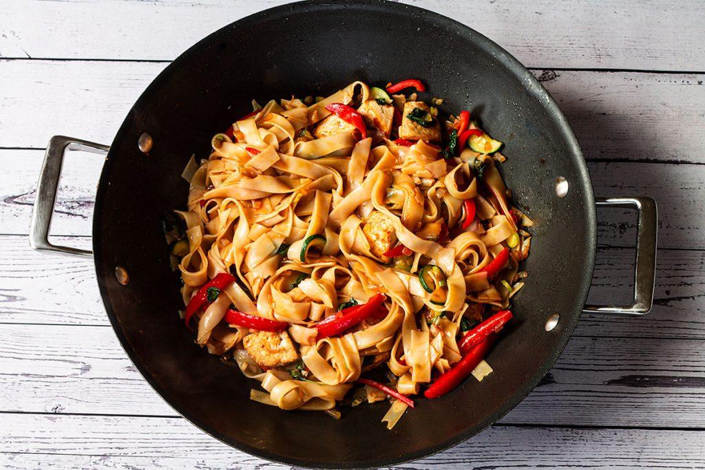 Cooked Thai Drunken Noodles in wok