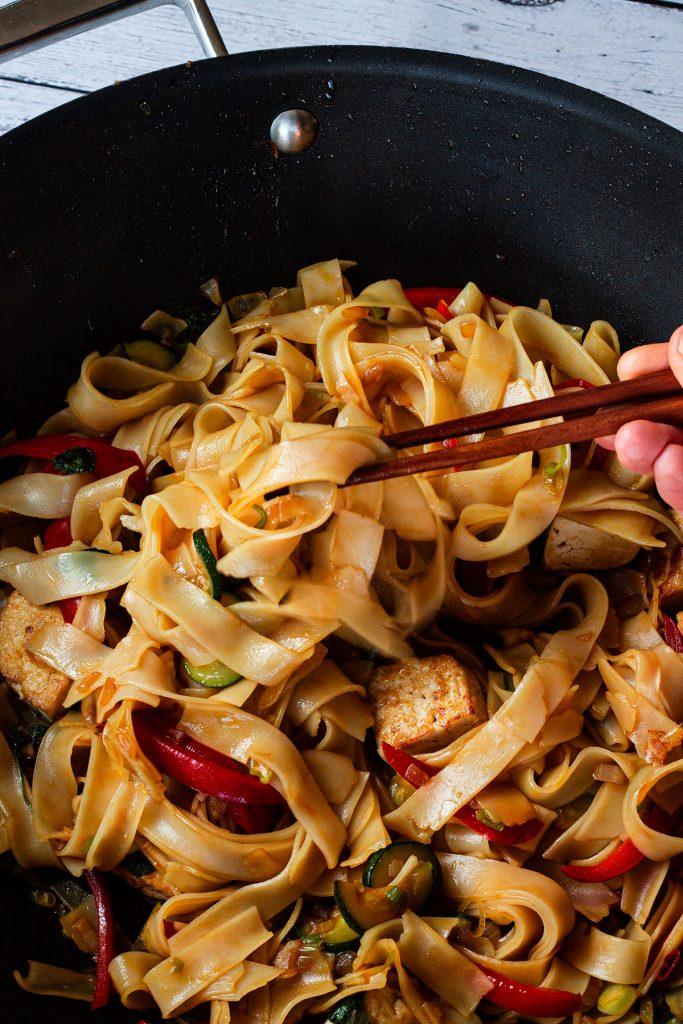 Cooked Thai Drunken Noodles close up