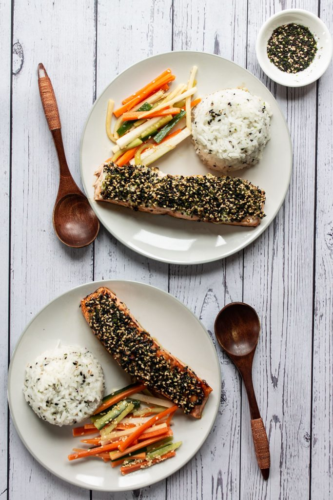 Servings of Furikake Salmon