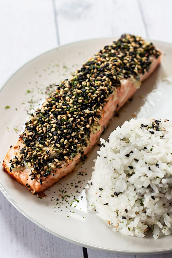 Furikake Salmon on a plate.