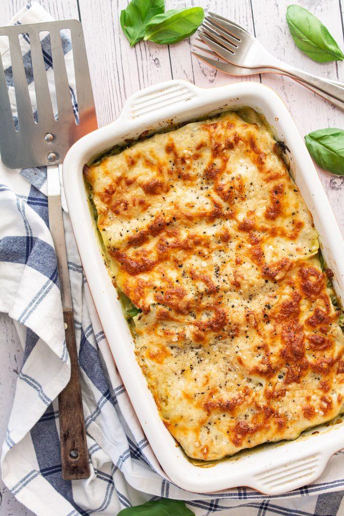 Pesto lasagne served