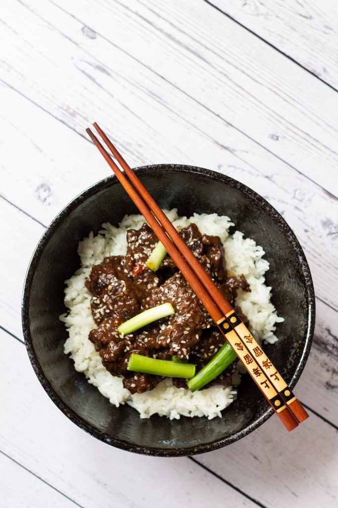A bowl of Spicy Instant Pot Mongolian Beef