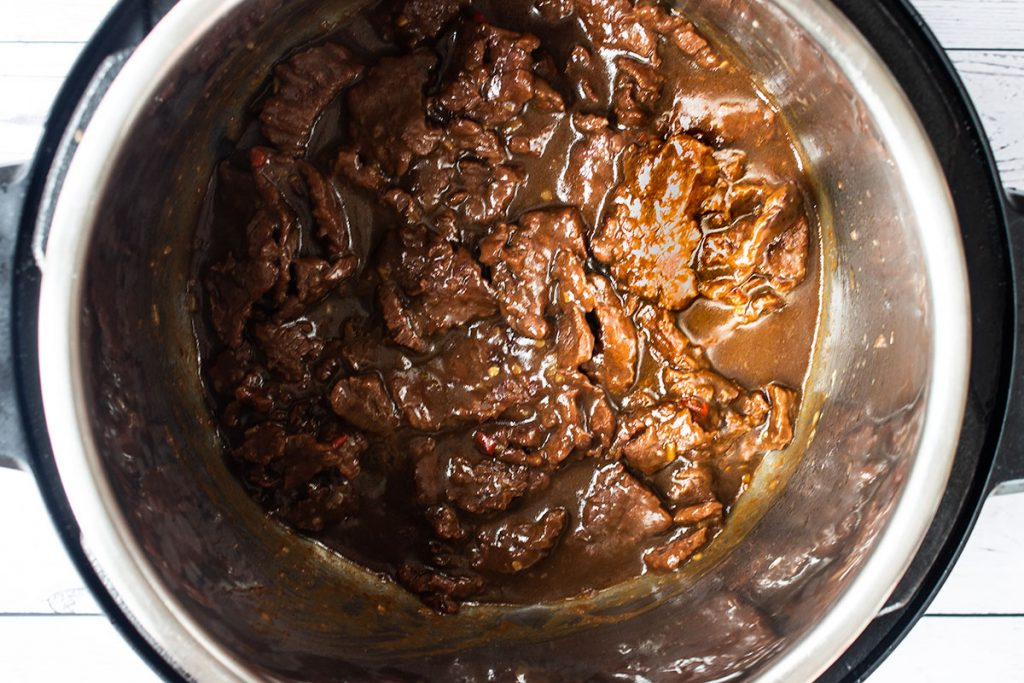 Pressure cooked Spicy Instant Pot Mongolian Beef step 4
