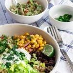 A serving of 30 Minute Vegetarian Burrito Bowl