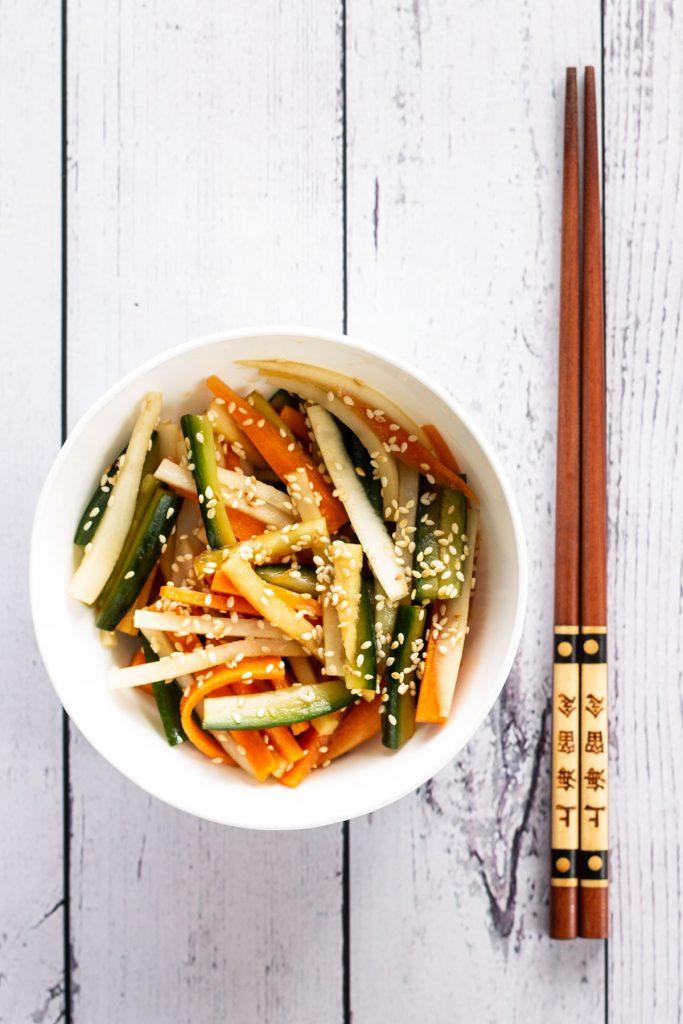 A serving of Carrot, Cucumber & Mooli Salad