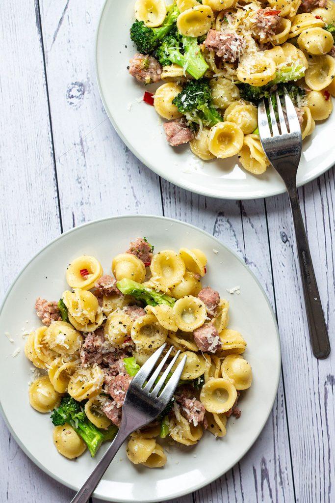 Servingd of Broccoli and Sausage Pasta