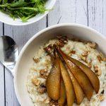 A serving of Instant Pot Gorgonzola & Pear Risotto