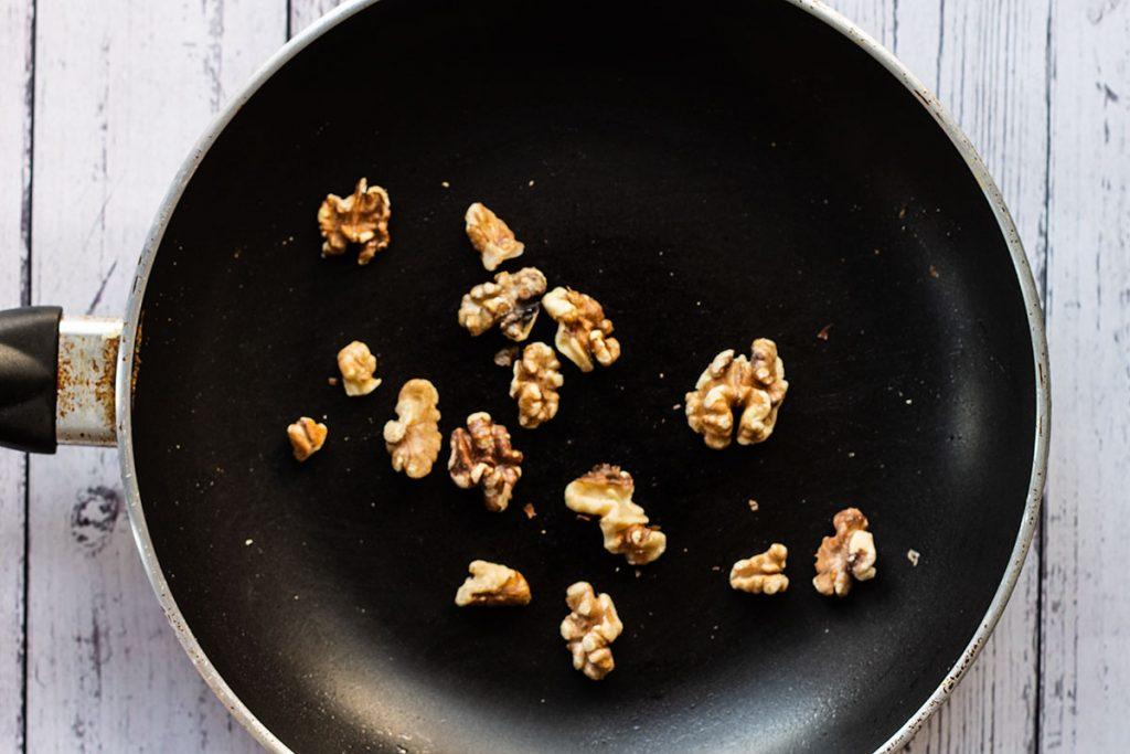 Toasting the walnuts