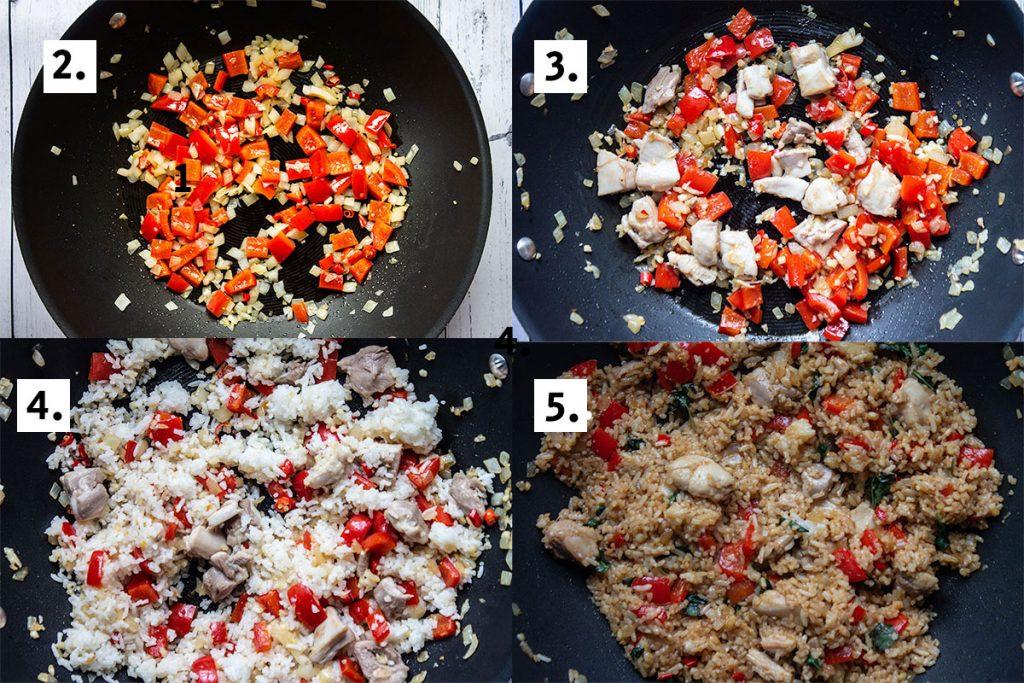 Thai Basil Fried Rice preparation