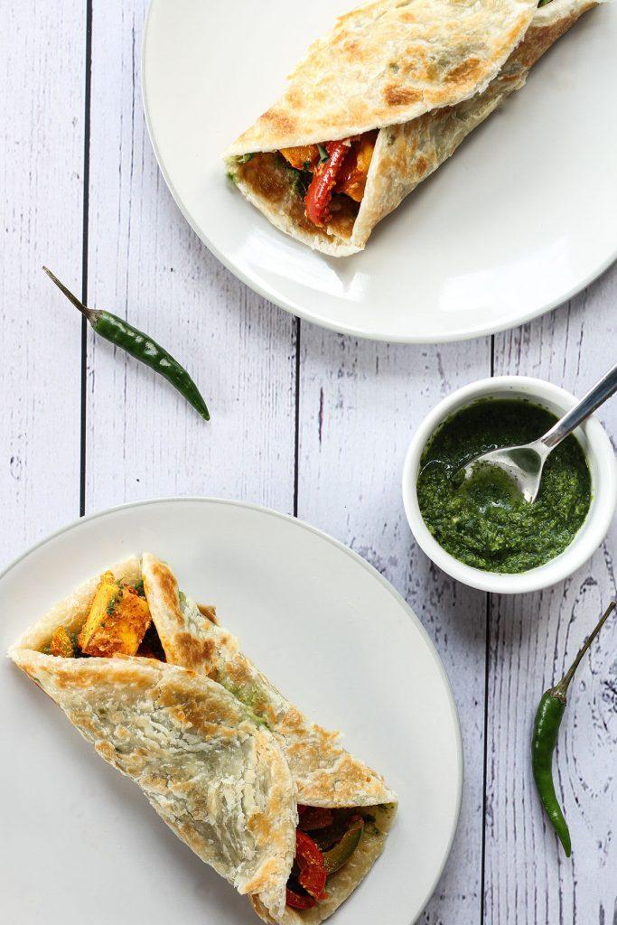 Two servings of Paneer Kathi Rolls