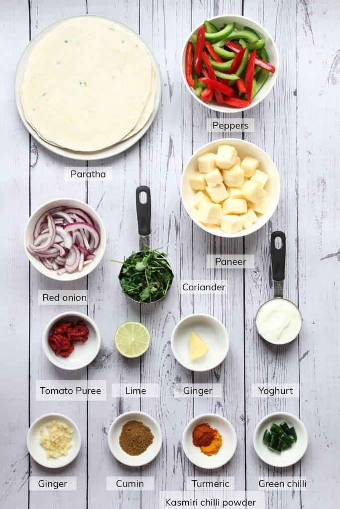 Paneer Kathi Rolls ingredients