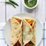 paneer kathi roll on a plate