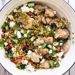 bowl of chicken freekeh salad