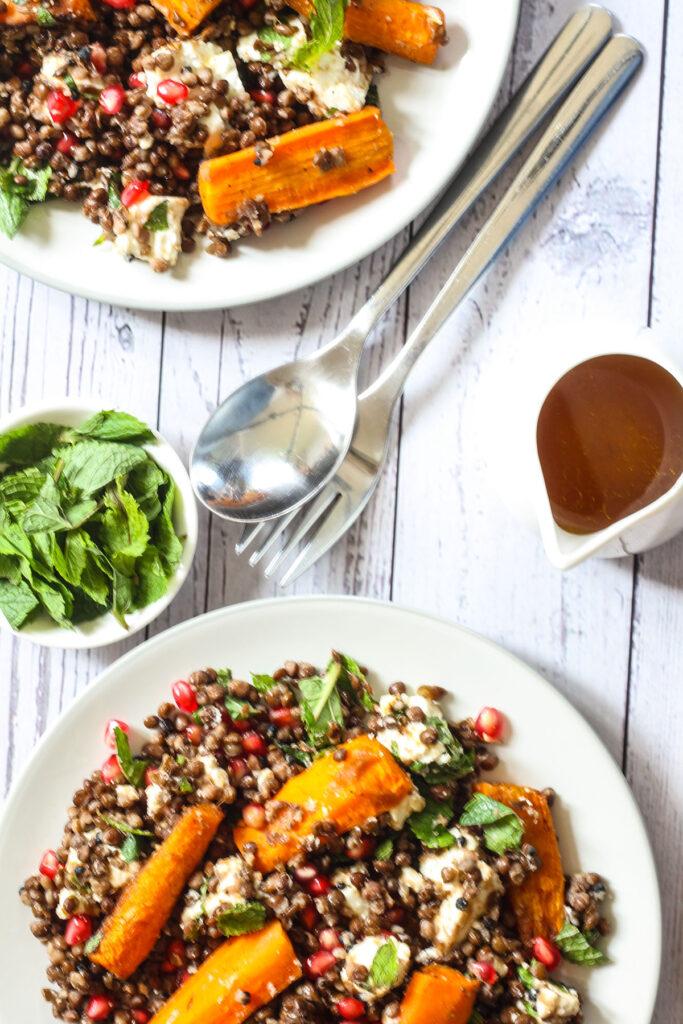 Servings of Feta & Roast Carrot Black Lentil Salad